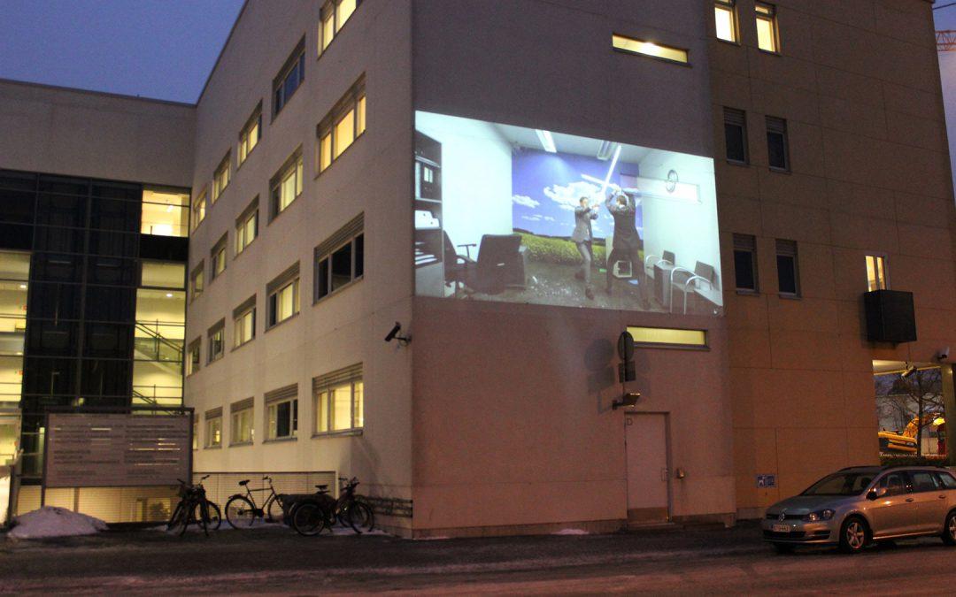 Videotaidetta kaupunkitilassa Joensuussa