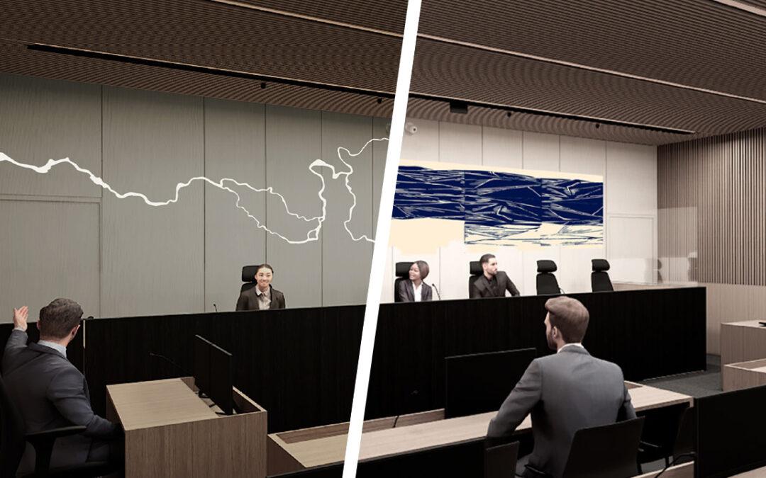 Kaksi teosehdotusta jatkokehitykseen Oulun oikeustalon uudisrakennuksen taidekilpailussa